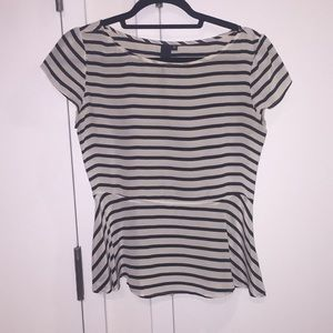 Silk striped peplum top